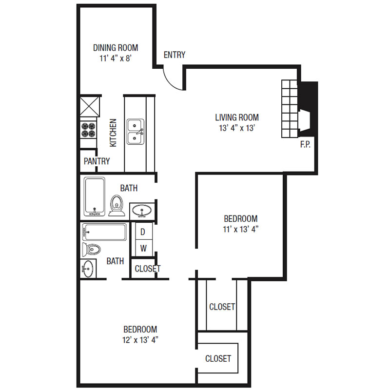 B1 - Two Bedroom / One Bath - 826 Sq. Ft.*